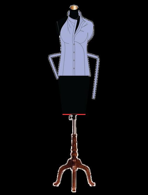 """Eve"" one-shoulder asymmetric button-down draped collar blouse"