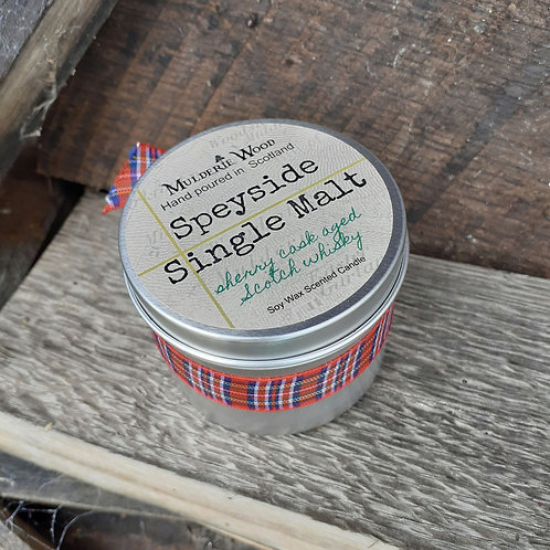 Speyside Single Malt Whisky Whiskey Scotch Scented Soy Wax Tin Candle