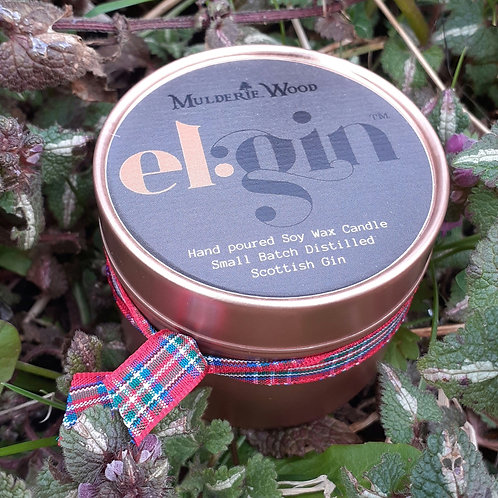 El:Gin X Mulderie Wood Scottish Small Batch Distilled Gin Scented Candles