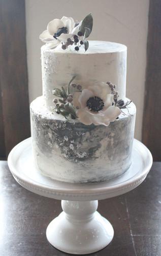 Marbled Anemone Wedding Cake