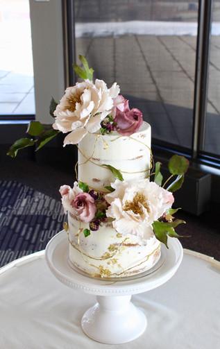 Two Tired Peony Wedding Cake