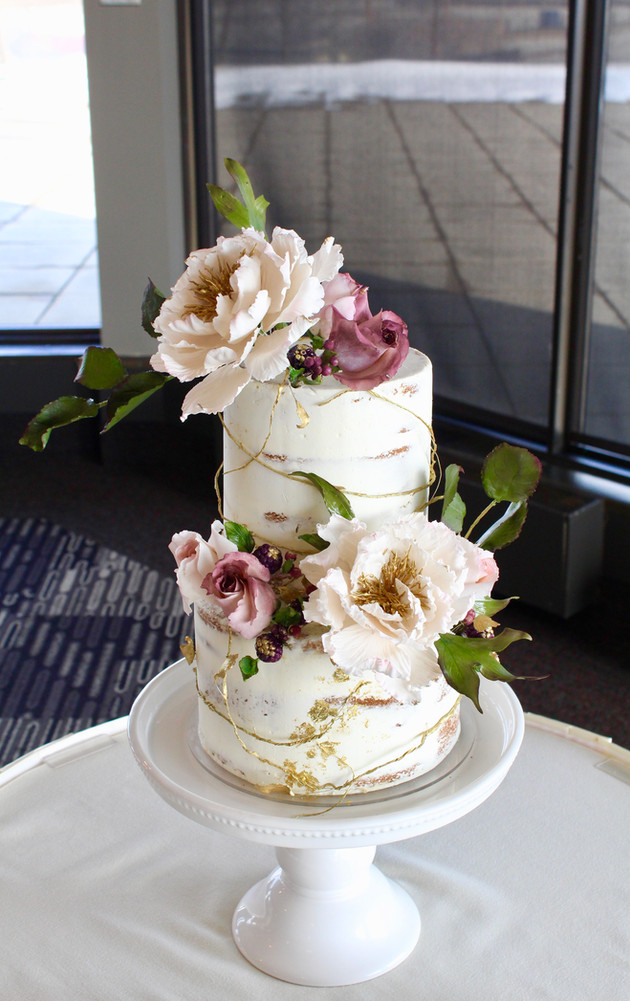 Two Tired Peony Wedding Cake