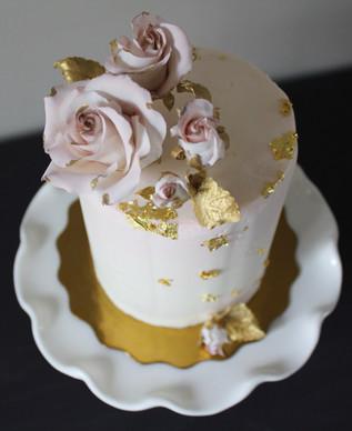 Pink & Gold Bridal Cake