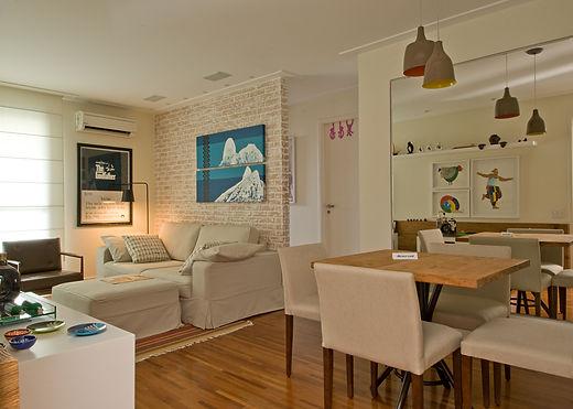 Living jantar integrado parede tijolos t