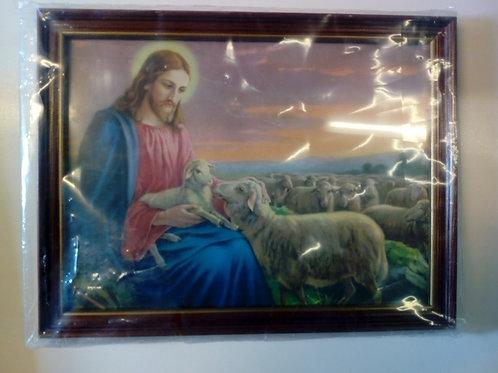 Jesus sittande med får i famnen, fårhjord, brun ram