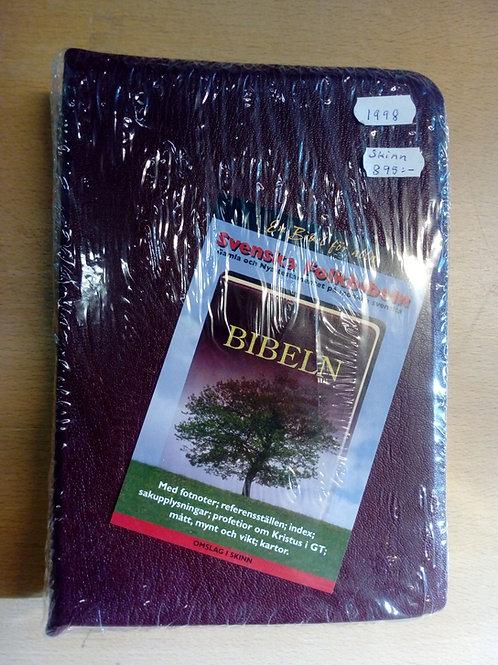 Folkbibeln, skinn, röd, stor, övervikt kant