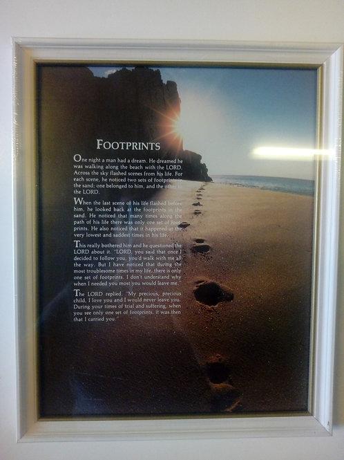Footprints, berg, sol, hav, fotspår i sanden