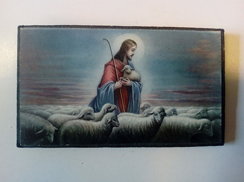Jesus stående med lamm i famnen (tavla)