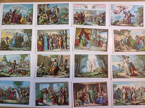 Flera bilder i fem olika buntar, bibeltext på baksidan