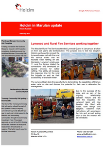 Read the latest update from Holcim in Marulan.