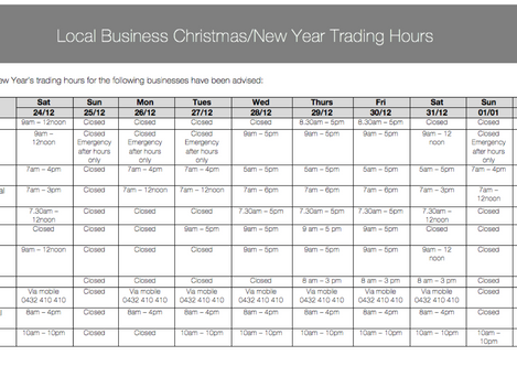 Local Business Christmas/New Year Trading Hours