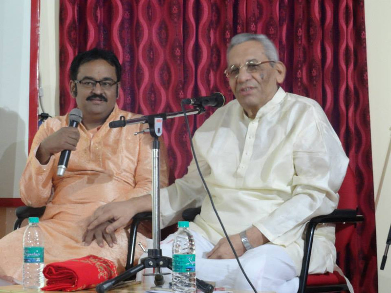 Dr. Nagendra Shastry with his guru Akella Mallikarjuna Sharma