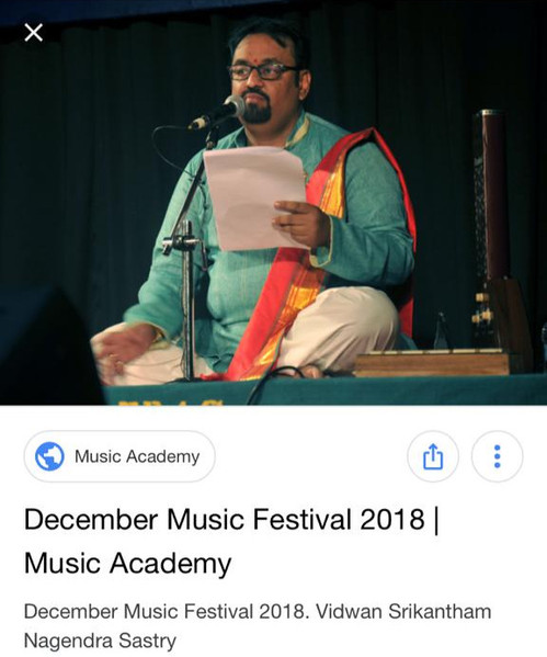 Dr. Nagendra Shastry at Madras Music Academy