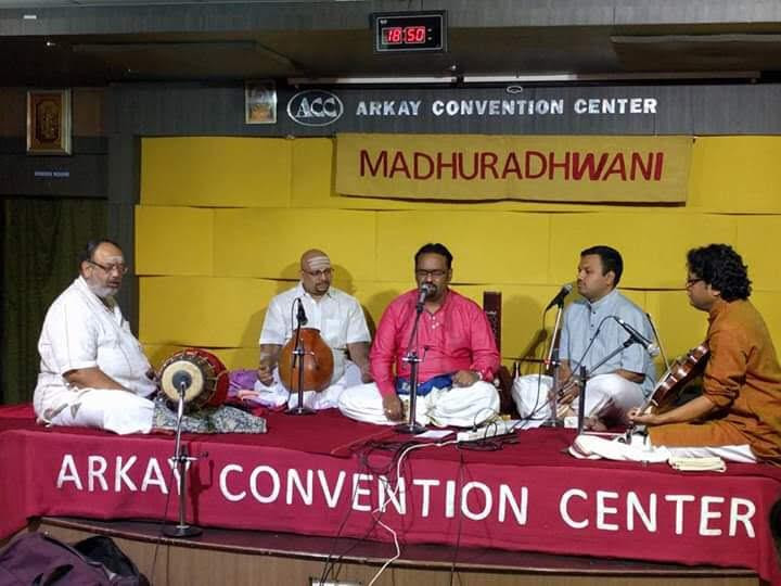 Dr. Nagendra Shastry performing at Madhuradhwani, Arkay convention center accompanied by reknowned Vid. Anoor Anthakrishna Sharma on mridanga, Vid. BU Ganesh Prasad on violin and Vid. V Suresh on ghatam