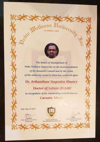 Dr. Nagendra Shastry's D.Litt certificate from Vedic Wellness University, Florida