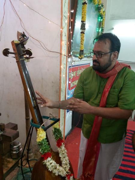 Dr. Nagendra Shastry with Saint Tyagaraja's Tambura, Madurai Sourashtra Sabha