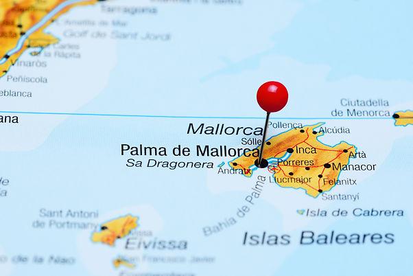 Palma de Mallorca pinned on a map of Spa