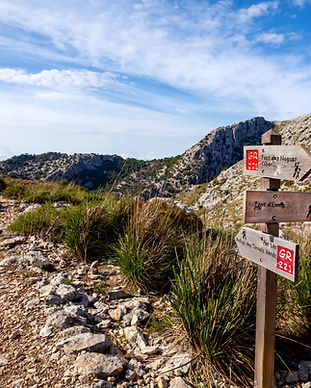 wooden signpost for hikers in Mallorca a