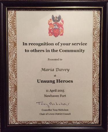Maria Davey Unsung Hero Certificate
