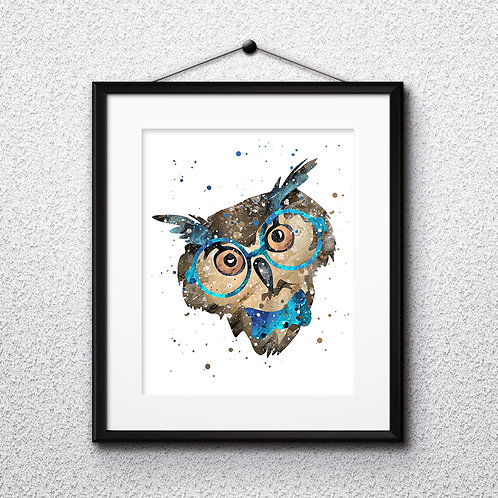 Hipster Owl in Glasses  Art Prints, Posters, Watercolor Art, Wall art, home decor, Printable Art, Art Prints, Painting