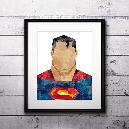 Superman Superhero Art, Watercolor Printable, Print, Painting, Home Decor, Wall Art Poster, buy poster, buy print