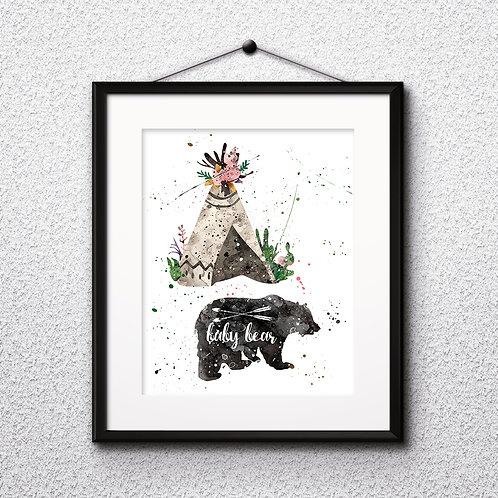 Animals Bohho baby bear Art, Bohho Wall Art Bohho Print, Bohho Poster, Bohho art