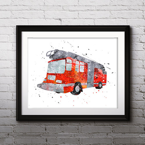 Firetruck Print, Fire Truck Printable, Fire Truck Decor, Transportation Print, Boy Bedroom Art