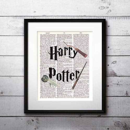 Harry Potter art Dictionary Art Art Prints Digital Poster Home Decor mixed media art print