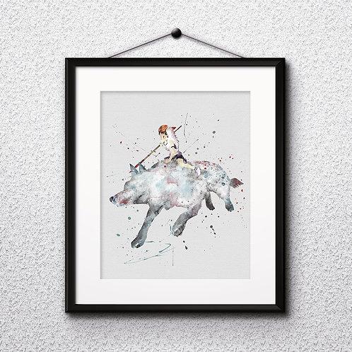 Princess Mononoke Anime Art, Watercolor Printable, Print, Painting, Home Decor, Wall Art Poster, buy poster, buy print