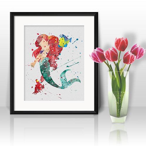 Litle Mermaid Ariel Disney art, Poster, watercolor, Painting, Art Print, home decor, Wall Art