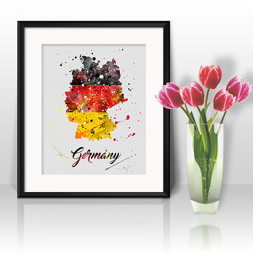 Germany map Art, Germany map Poster, Germany map Painting, Germany Art Print, Germany Wall Art,Germany Watercolor art