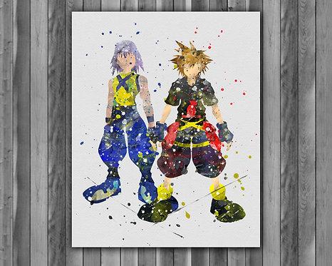 Kingdom Hearts Sora & Riku Anime art prints, Anime wall art, Anime watercolor painting, Kingdom Hearts Anime art prints