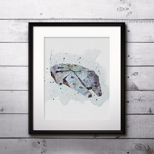 Millenium Falcon Star Wars, Buy Star Wars Painting, Buy Star Wars Art Print, Buy Star Wars Watercolor Print, Star Wars Poster