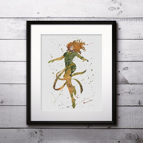 Phoenix - Jean Grey X-Men superhero Art, Watercolor Printable, Print, Painting, Home Decor, Wall Art Poster, buy art poster