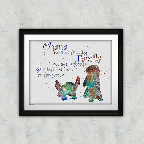 Quote from Lilo and Stitch, Lilo & Stitch disney - Watercolor illustrations, Art Print, instant download, Watercolor Print