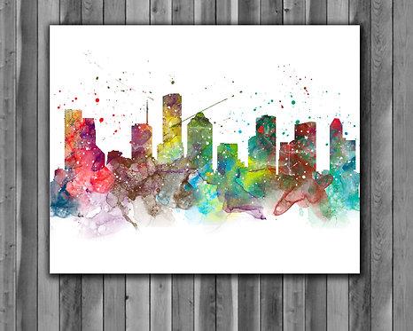 Houston Skyline Art Prints Skylines Painting Skylines Poster Skylines Wall Art Skylines watercolor Skylines Home art