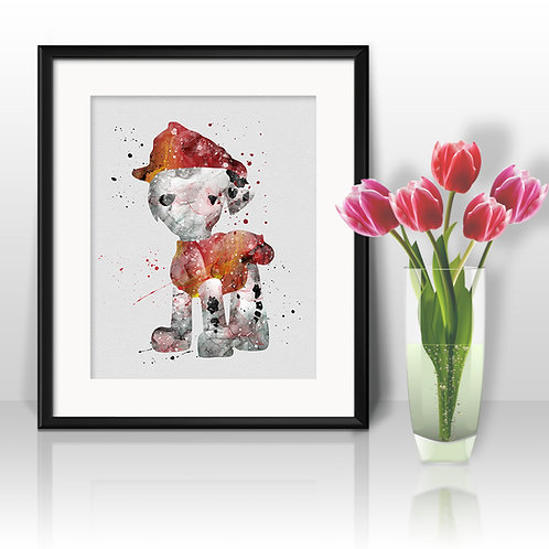 Marshall, Paw Patrol Print - Nursery Decor, watercolor, Art Print, instant download, Watercolor poster