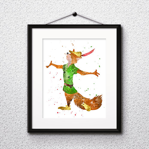 Robin Hood Disney Art Prints Instant Download Printable Watercolor Art Nursery Prints Painting Poster Home Decor Wall Art