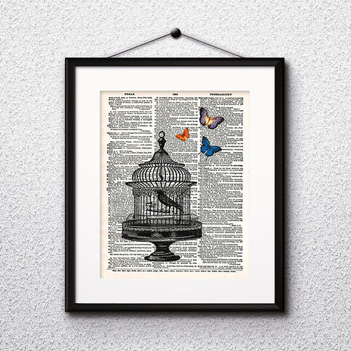 Bird in Сage vintage Dictionary Wall Art painting Home Decor mixed media art print