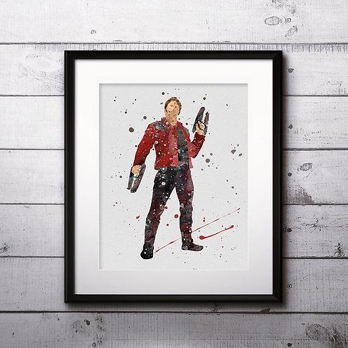 Peter Quill superhero wall art prints, printable image, poster, watercolor painting