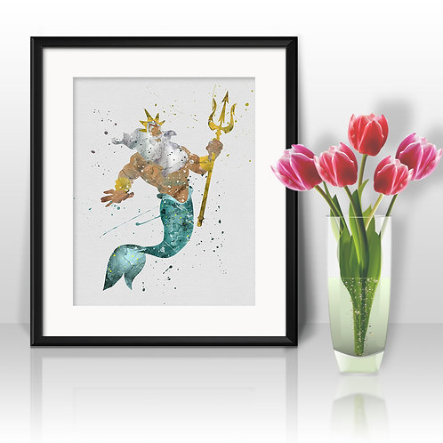 King Triton Ariel Disney The Little Mermaid Art, Watercolor Printable, Print, Painting, Home Decor, Wall Art Poster, buy art