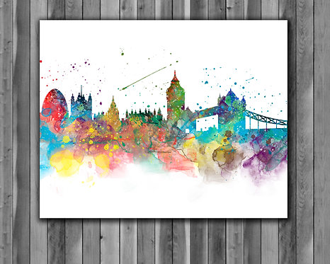London Skyline Art Prints Skylines Painting Skylines Poster Skylines Wall Art Skylines watercolor Skylines Home art