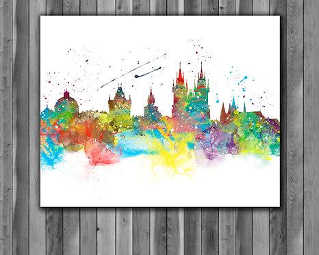 Prague Skyline Art Prints Skylines Painting Skylines Poster Skylines Wall Art Skylines watercolor Skylines Home art