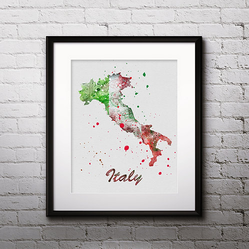 Italy map Art, Italy Poster, Italy Painting, Italy map Art Print, Italy Wall Art, Italy Watercolor art