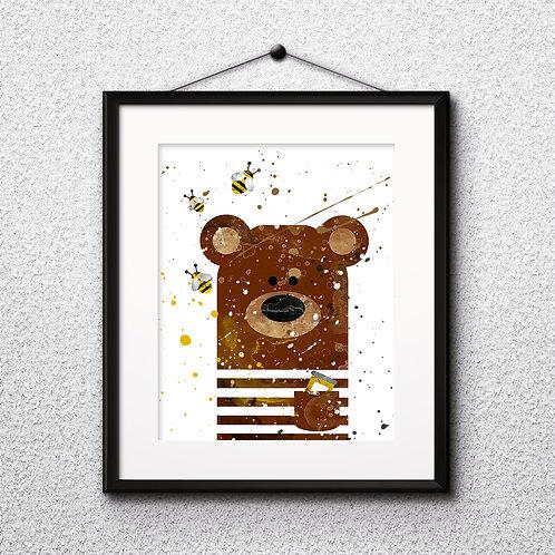 Bear Nursery Art, Children Decor art, Nursery Poster, Nursery Painting, Nursery Art Print, Nursery Wall Art, Digital pictures