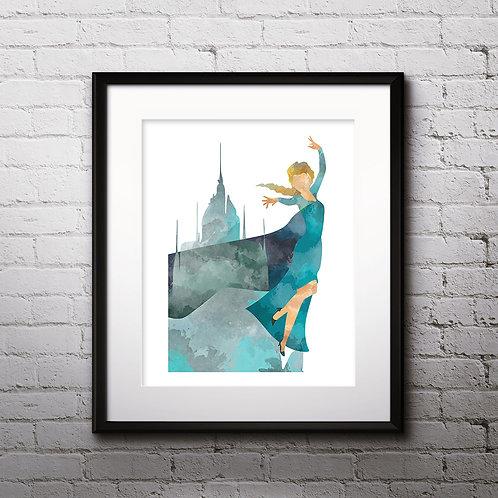 Frozen Elsa art prints, printable image, wall art, watercolor painting