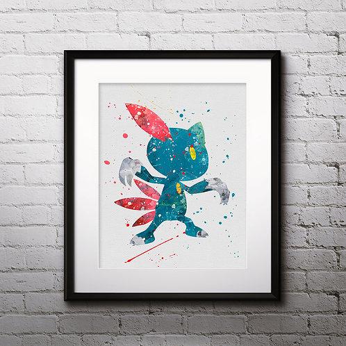 Pokemon Sneasel Anime art prints, Pokemon Sneasel Anime wall art, Pokemon Anime watercolor painting, Pokemon Anime art prints