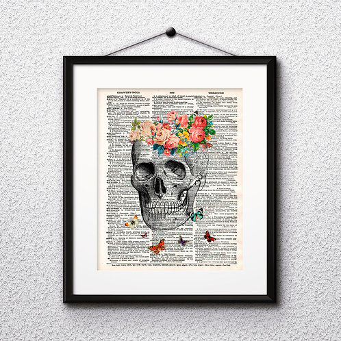 Skull vintage Dictionary Wall Art painting Home Decor mixed media art print