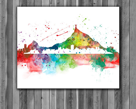 Rio-De-Janeiro Skyline Art Prints Skylines Painting Skylines Poster Skylines Wall Art Skylines watercolor Skylines Home art