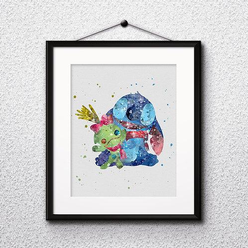 Disney, Stitch & Scrump Doll art Prints, Stitch Posters, Stitch watercolor, Stitch wall art, Stitch home decor, Stitch Art